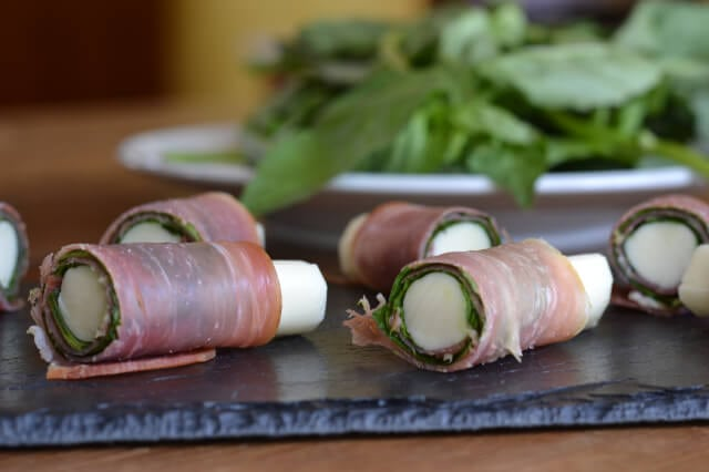 Prosciutto and Basil Wrapped Mozzarella