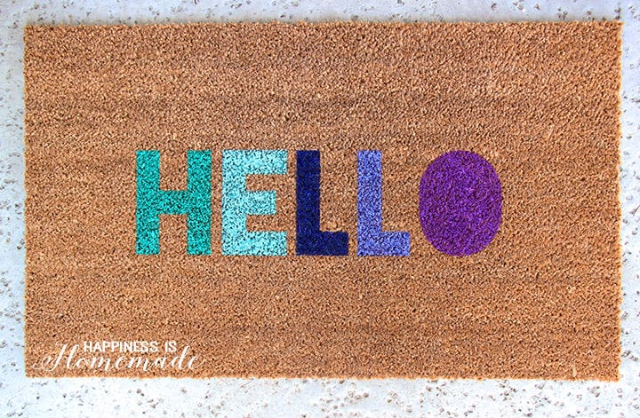 Stenciled Hello Welcome Mat