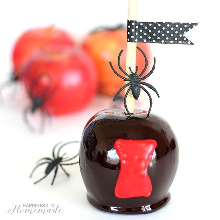 Black Widow Spider Halloween Candy Apples