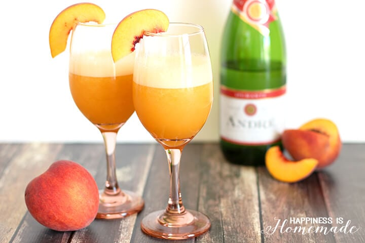 Frozen Blended Peach Bellini Cocktail Recipe