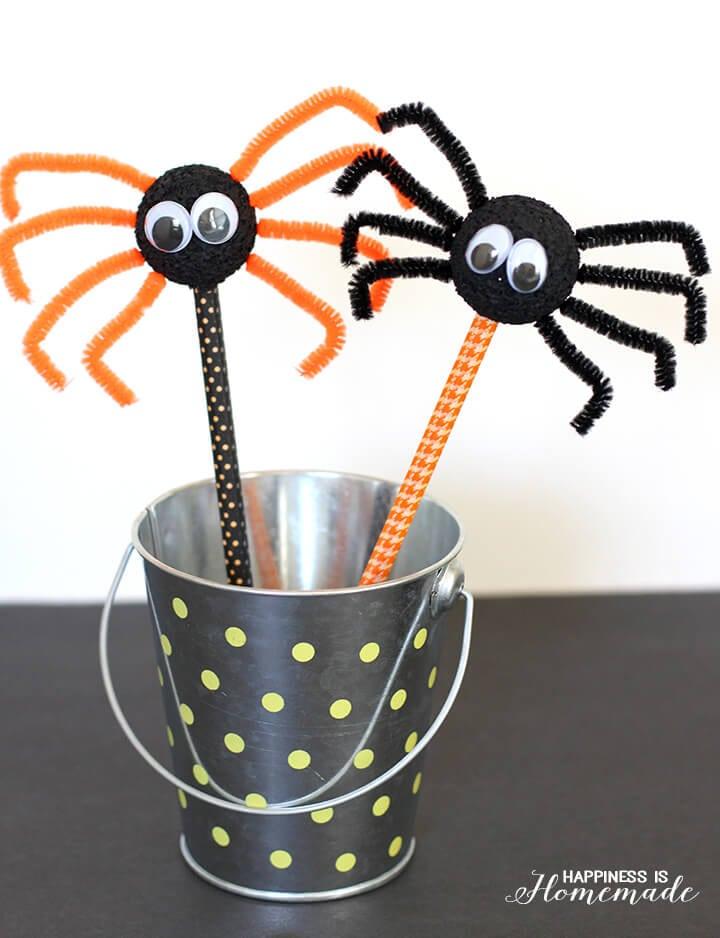 Halloween Kids Craft - Spider Pencils