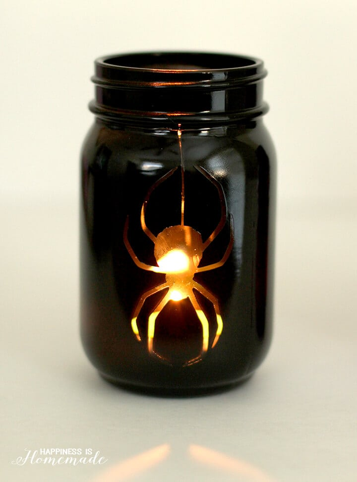 Halloween Spider Mason Jar Luminaria Lantern