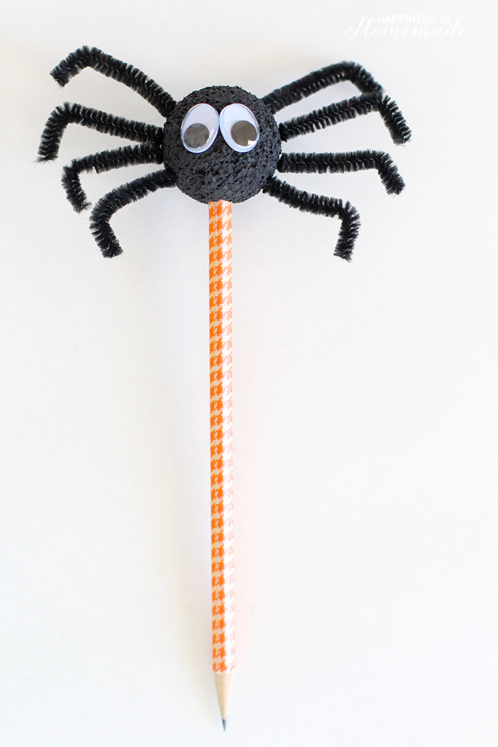 Halloween Spider Pencil Craft for Kids