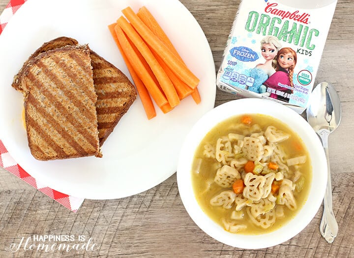 Kids Cook Campbells Organic Soup and Grilled Cheese Sandwich