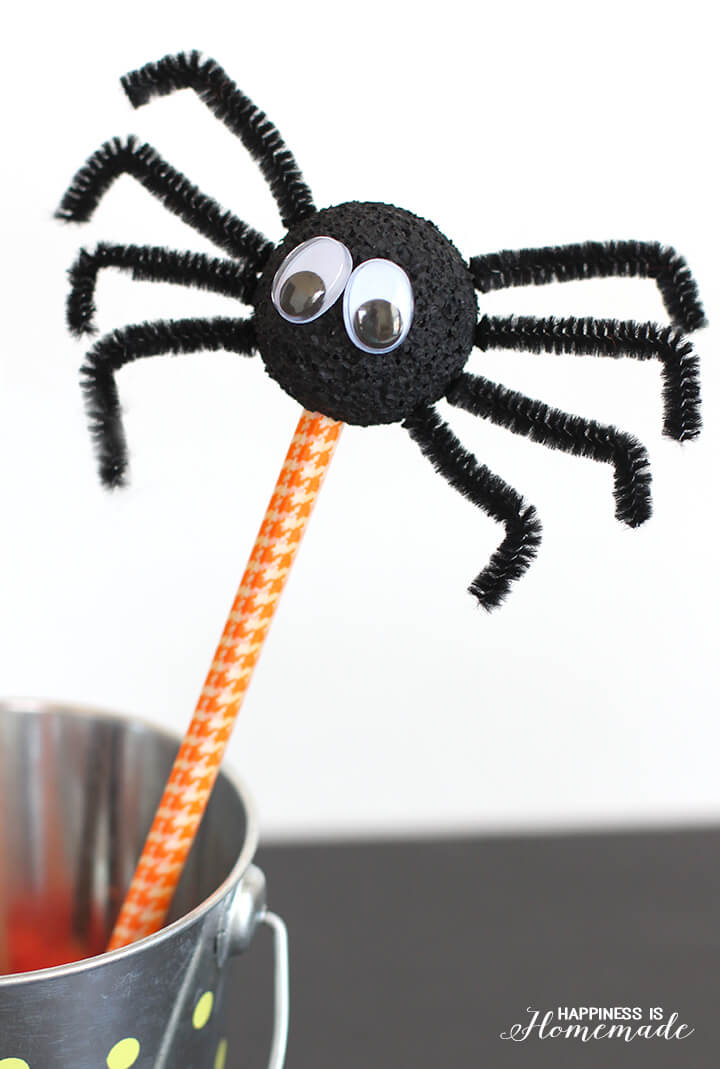 Halloween Kids Craft Spider Pencils , Happiness is Homemade
