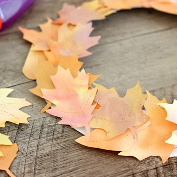 Kids Craft: Watercolor Fall Leaf Wreath
