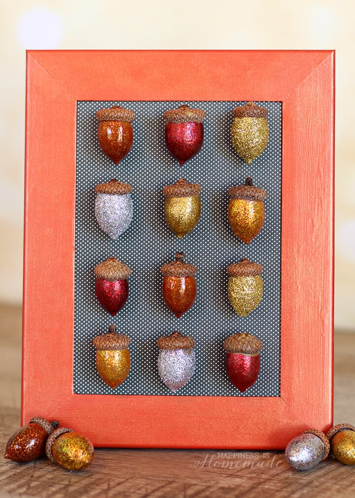 Fall Acorn Specimen Art with Elmer's Glue and Glitter