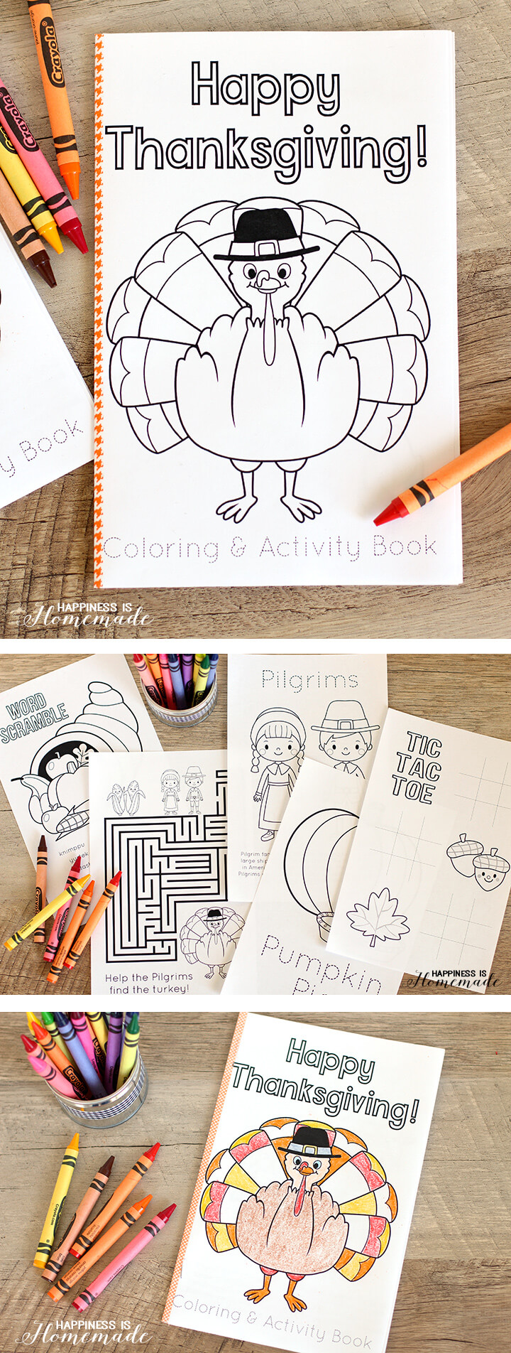 Free Printable Thanksgiving Coloring Book for the Kids Table