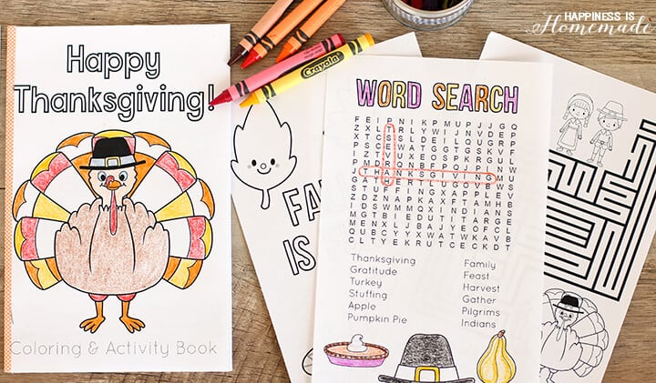 photo regarding Printable Activity Books called Thanksgiving Coloring Sport Guide - Pleasure is Do-it-yourself