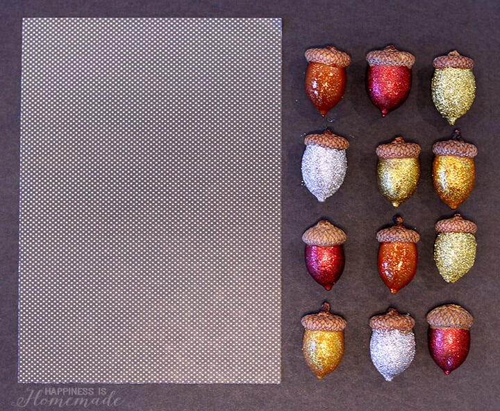 Glittered Acorns for Fall Specimen Art