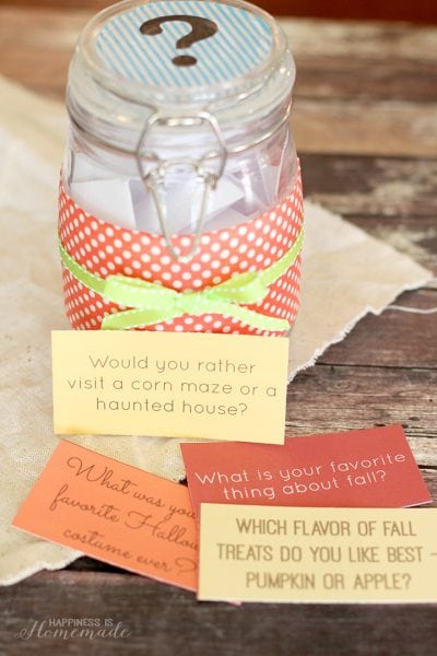 Printable Fall Dinner Conversation Starters