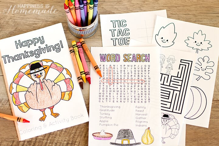 Printable Thanksgiving Coloring Book for Kids
