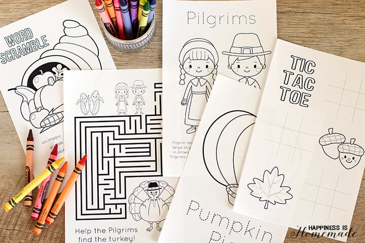 Thanksgiving Coloring & Activity Book - Happiness is Homemade