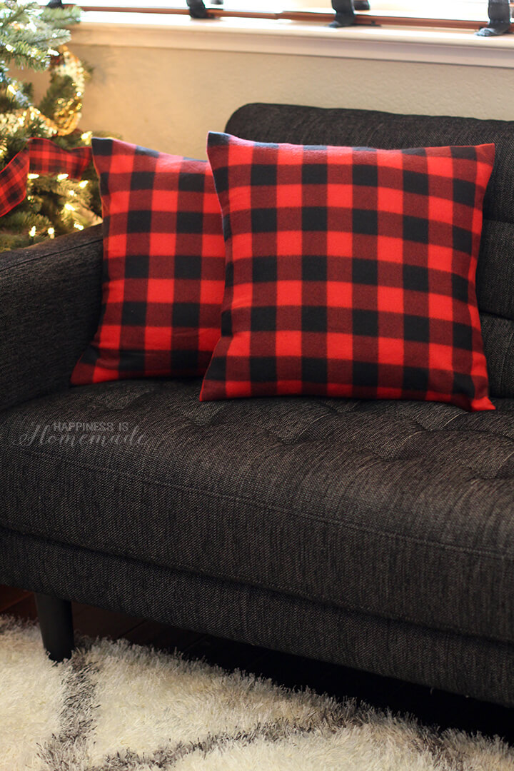 10-Minute Buffalo Check Plaid Pillows from a Target Dollar Spot Blanket