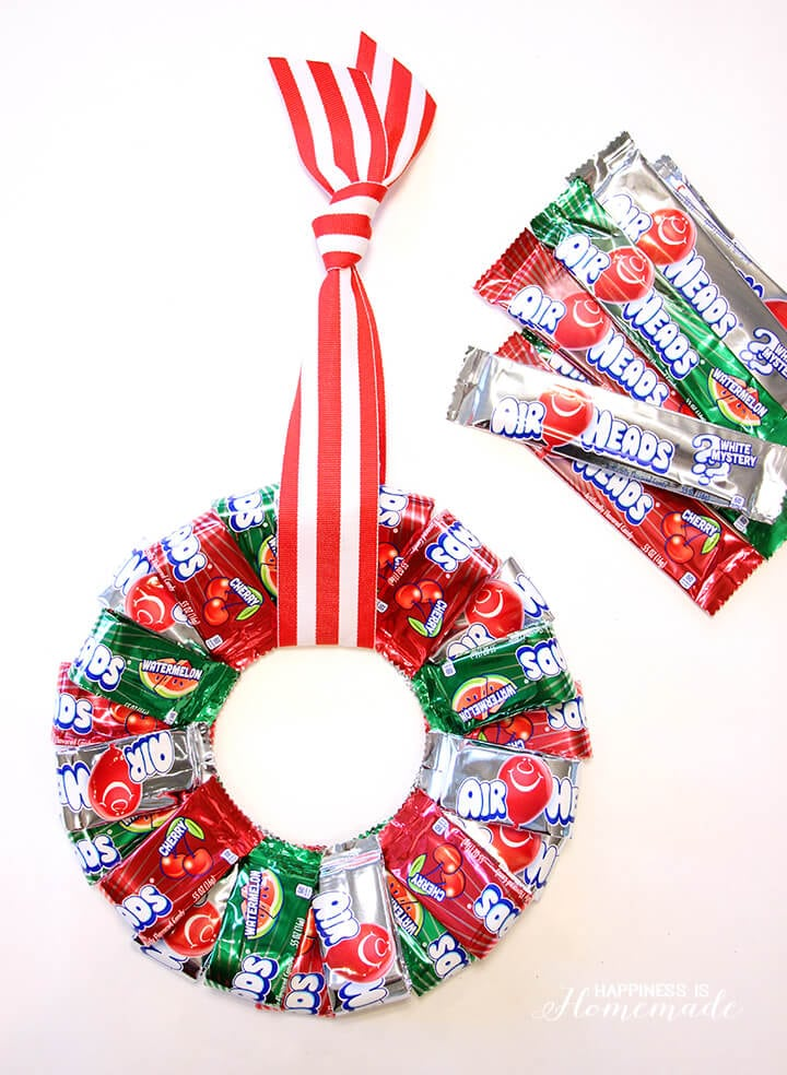 Airheads christmas candy wreath happiness is homemade for Edible christmas gift ideas to make