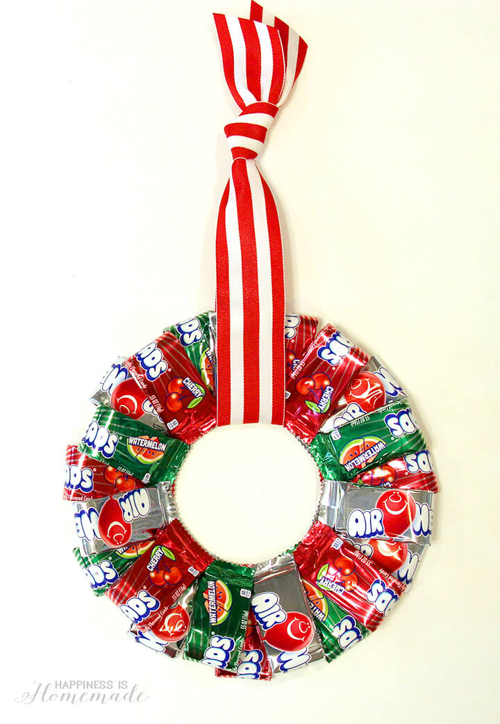 Airheads Christmas Candy Wreath - Happiness is Homemade