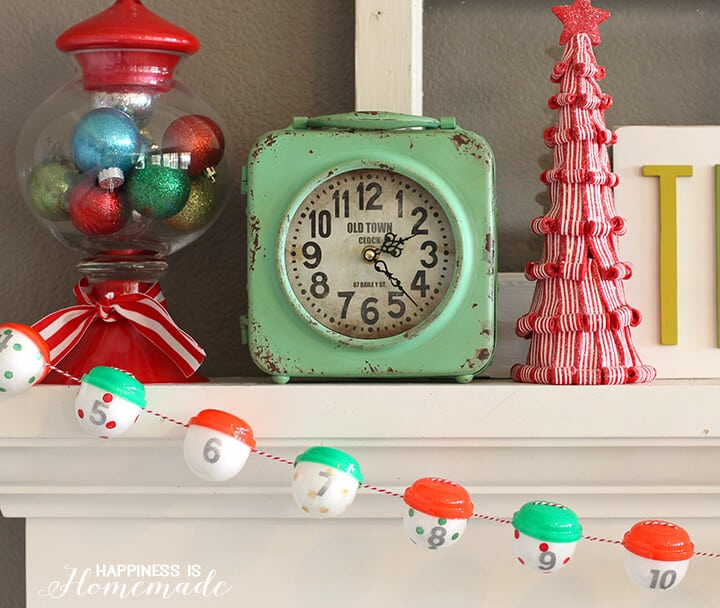 Candy Christmas Mantel with Gumball Machine Advent Calendar
