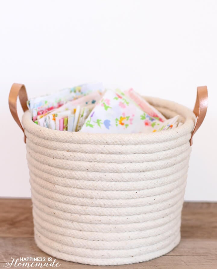 Chic No Sew Rope Basket with Leather Handles