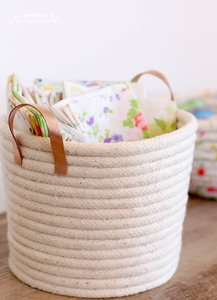 DIY No Sew Rope Basket with Leather Handles