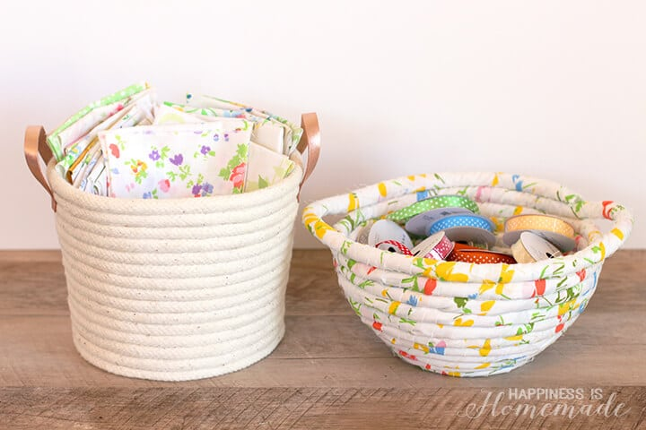 DIY No Sew Rope Baskets and Bowls