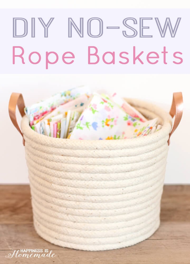 Diy no sew rope baskets happiness is homemade diy no sew rope baskets solutioingenieria Choice Image