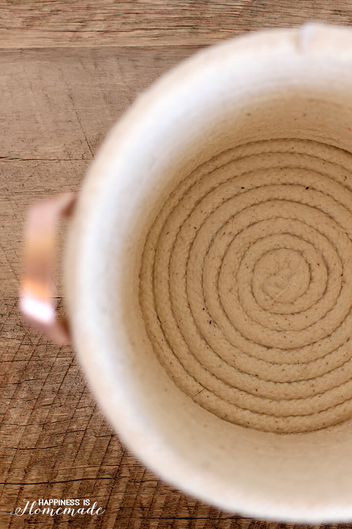Interior of a No Sew Coiled Rope Basket