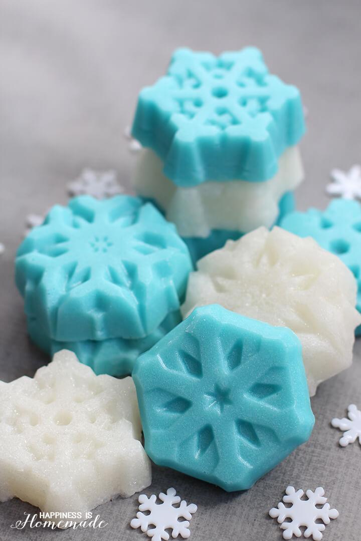 Shimmery Sugar Scrub Snowflake Bars
