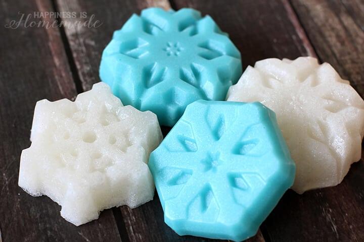 Shimmery and Glittery Snowflake Sugar Scrub Cubes