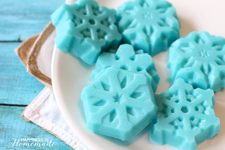 Snowflake Sugar Scrub Cubes with Shimmery Shine