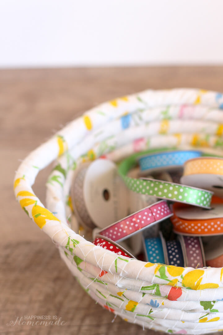 Vintage Fabric Wrapped Basket