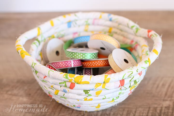 Vintage Fabric Wrapped Rope Basket