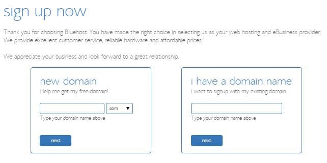 bluehost register domain
