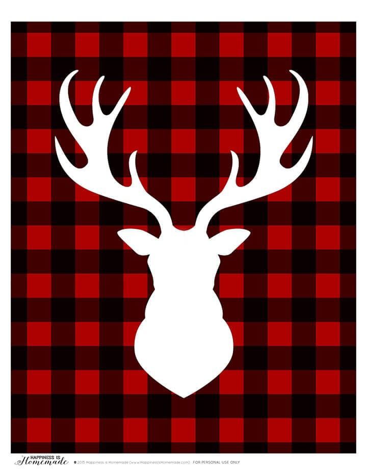 Buffalo Check Plaid Holiday Christmas Deer Head Silhouette Printable 1