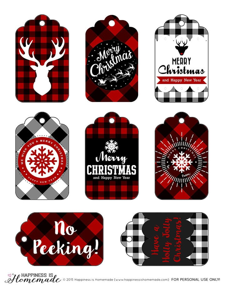 These free printable buffalo check plaid gift tags are perfect for the Christmas holiday season! via Happiness is Homemade