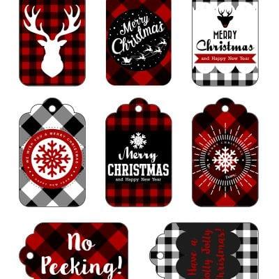 Buffalo Check Plaid Printable Gift Tags