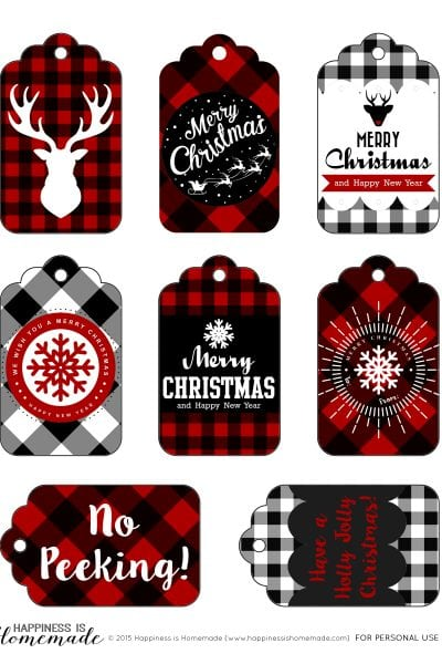 Buffalo Check Plaid Printable Christmas Holiday Gift Tags by Happiness is Homemade