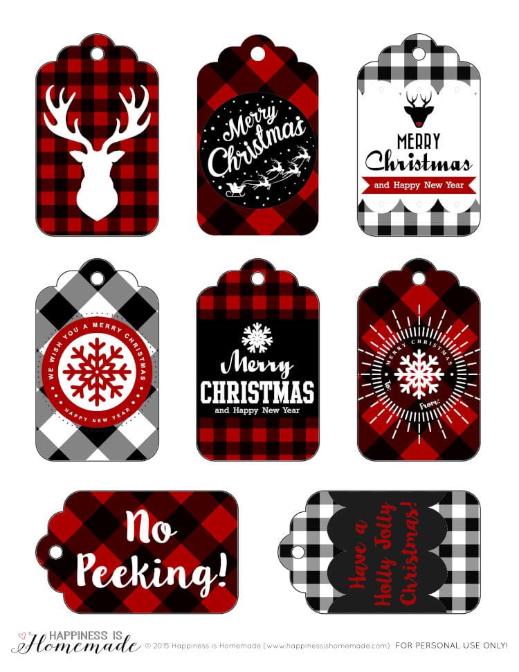 buffalo check plaid printable gift tags happiness is homemade