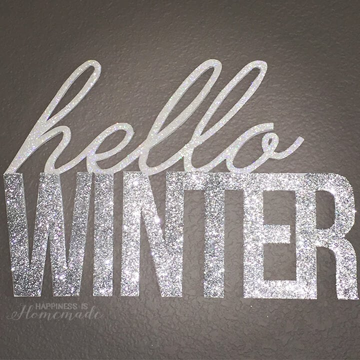 DIY Glittered Hello Winter Wall Decor