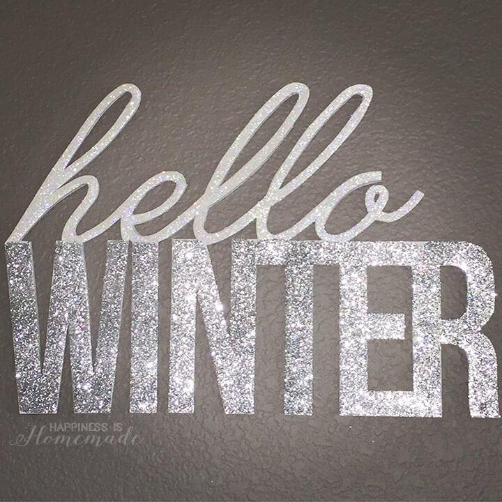 DIY Glittered Hello Winter Wall Decor