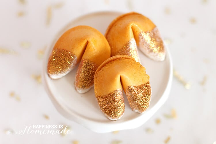 edible glitter dipped fortune cookie new years eve party favors