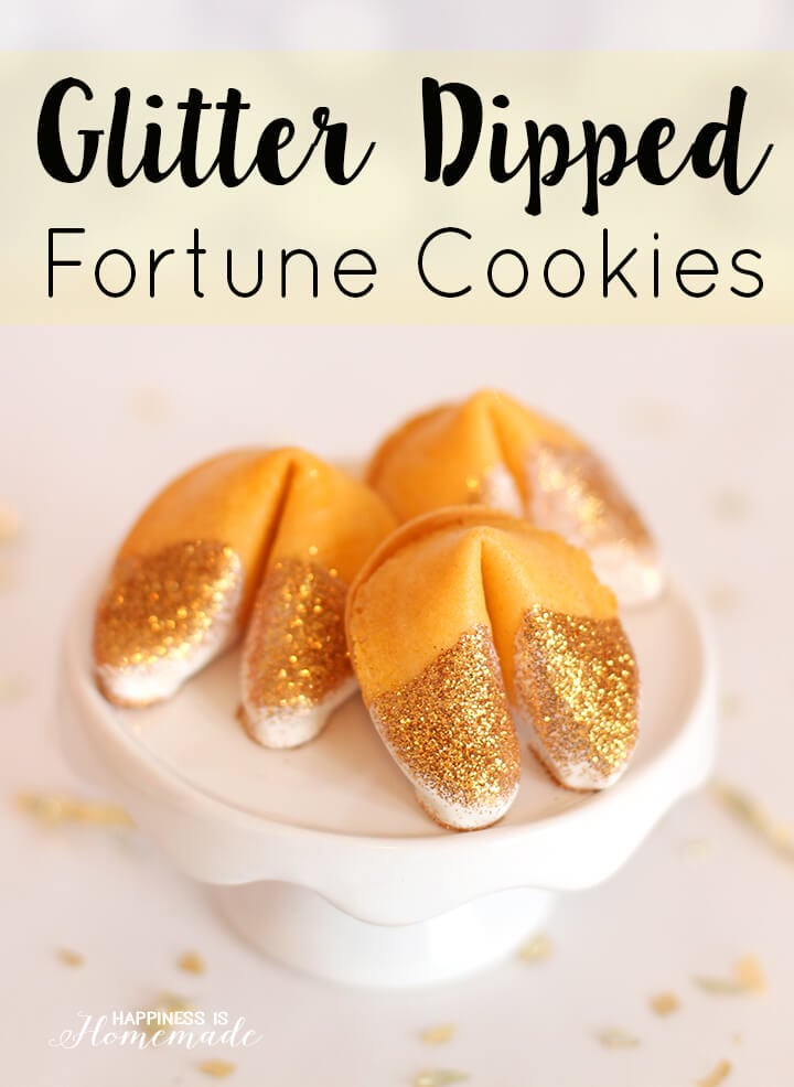 Edible Glitter Dipped Fortune Cookies