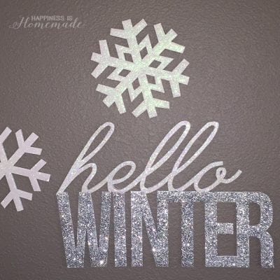 """Hello, Winter"" Glittery Wall Decor"