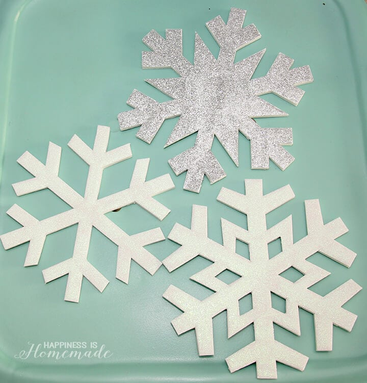 Glittery Foam Core Snowflakes Winter Holiday Decor