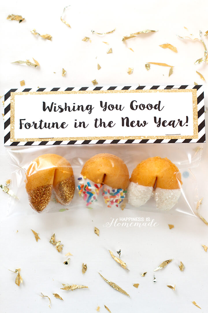 new years eve glitter dipped fortune cookies party favors