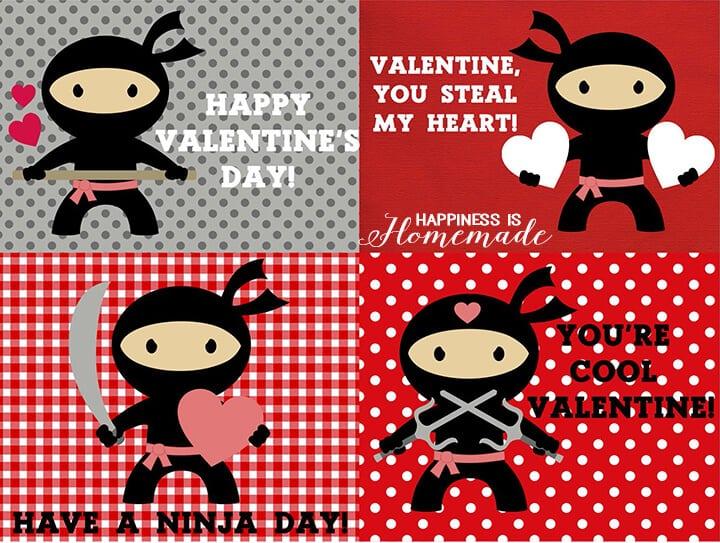 Printable Ninja Valentines
