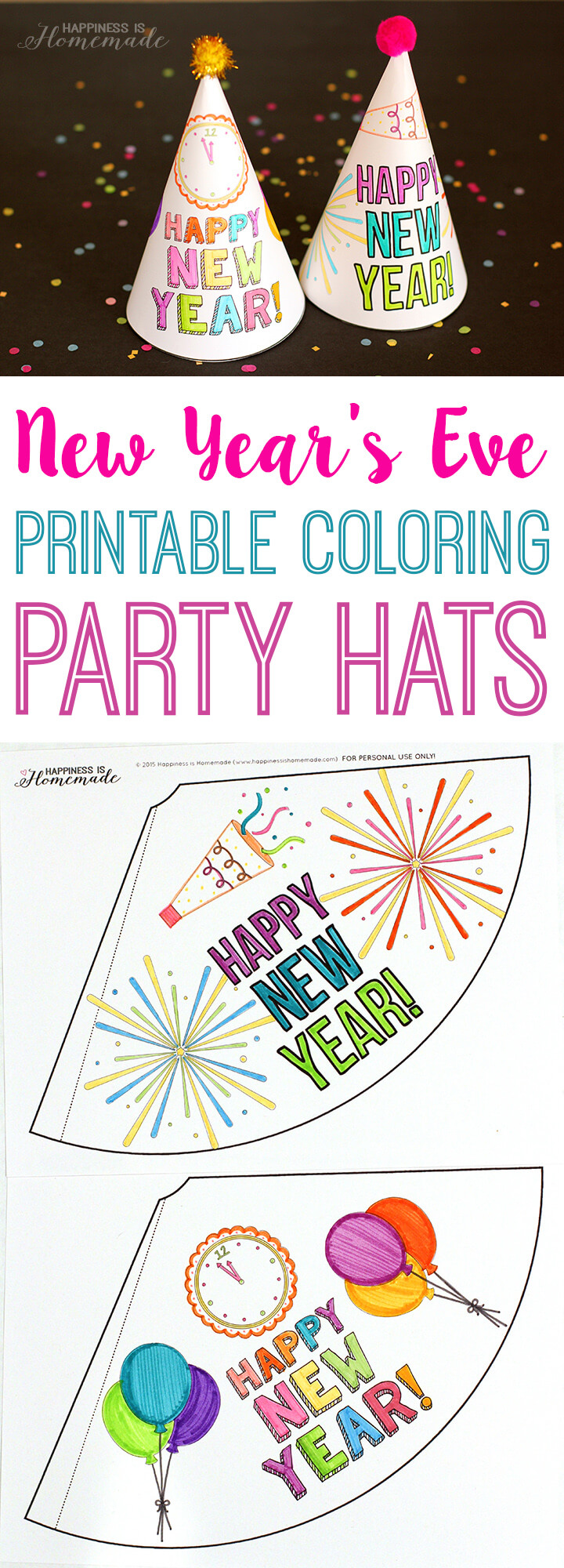 Printable Coloring Party Hats for New Year's Eve Kid Parties
