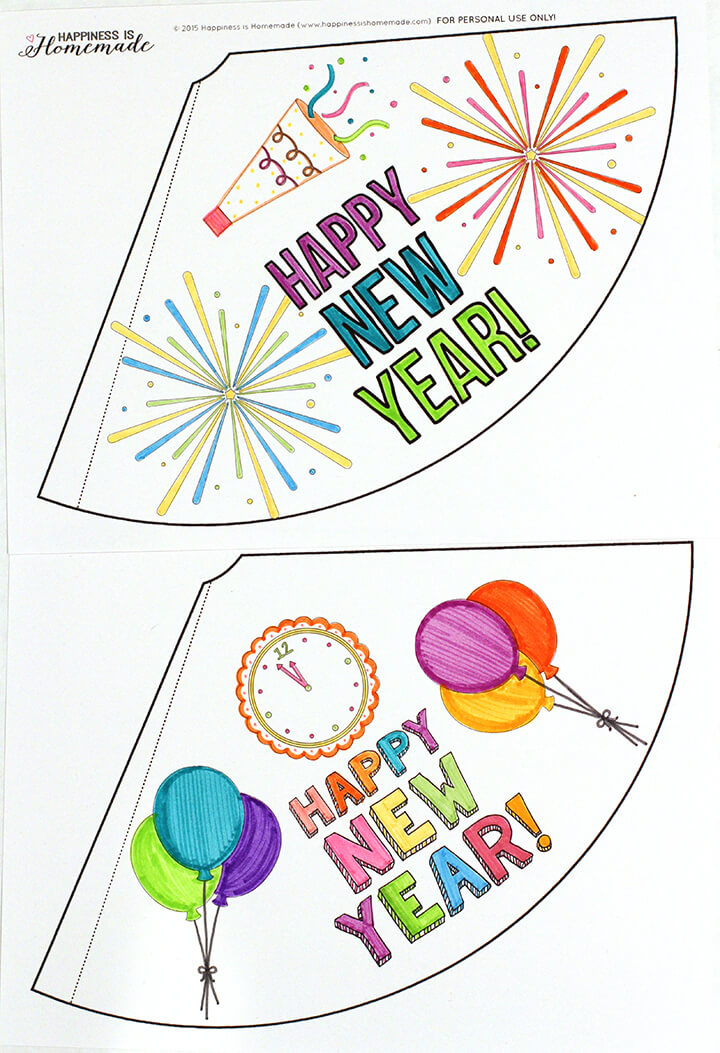 Printable Coloring Party Hats for New Year's Eve