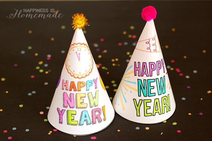 printable new years eve coloring hats for kids