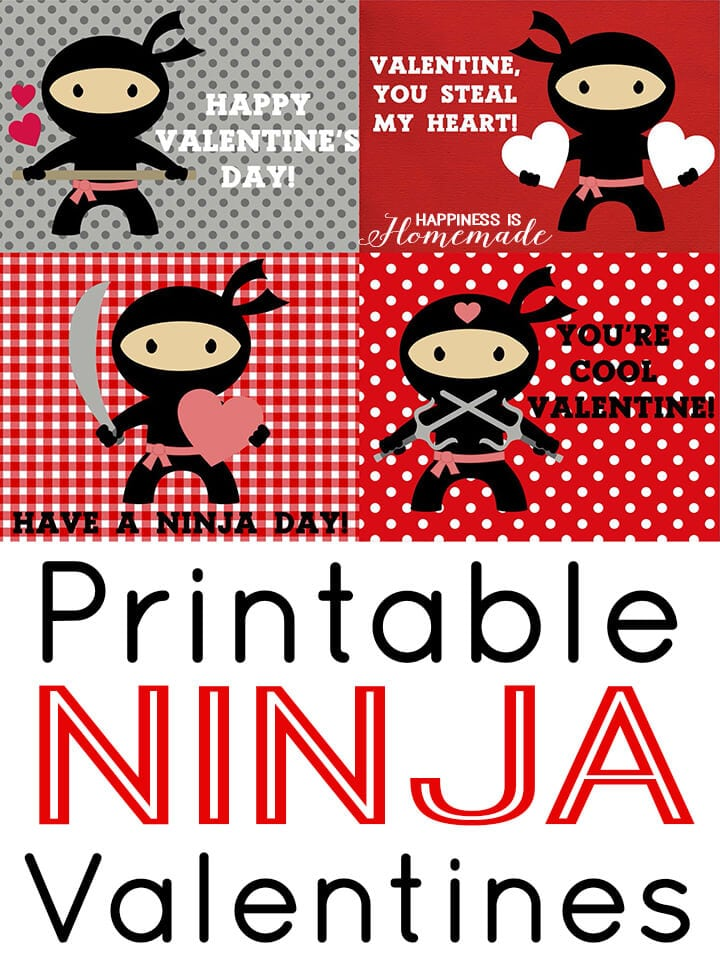 Printable Ninja Valentines Day Cards