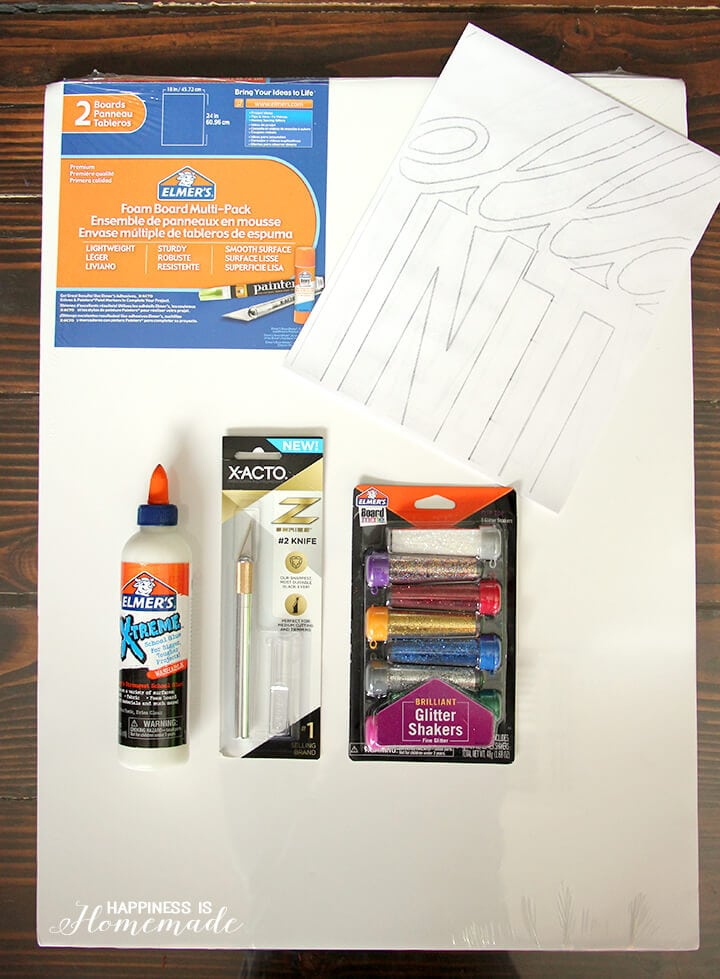 Supplies Needed to Make Large Glittery Wall Words Decorations